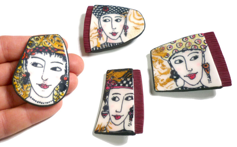 Broches visages multilayering polymer clay-Chifonie 10-2019