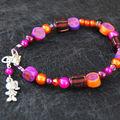 Bracelet perles et fimo rose orange et violet 8 euros