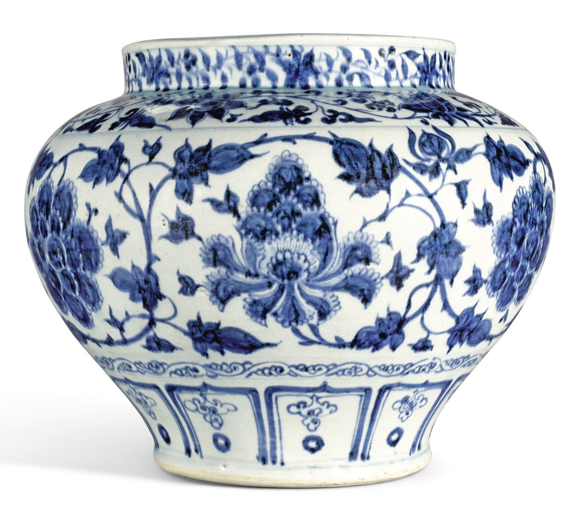 A large blue and white 'peony' jar, Yuan dynasty (1279-1368)