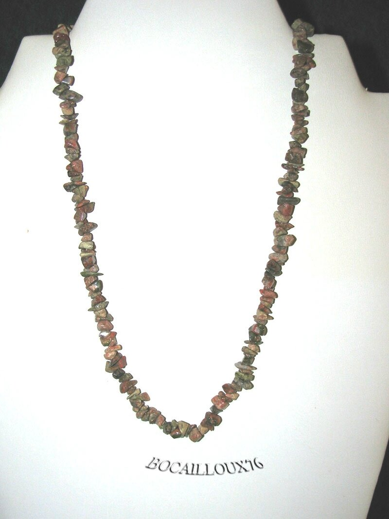 COLLIER UNAKITE 3 Chips - Fermoir Crochet ARGENTE