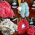 corail,bleu filet,blanche fleurs