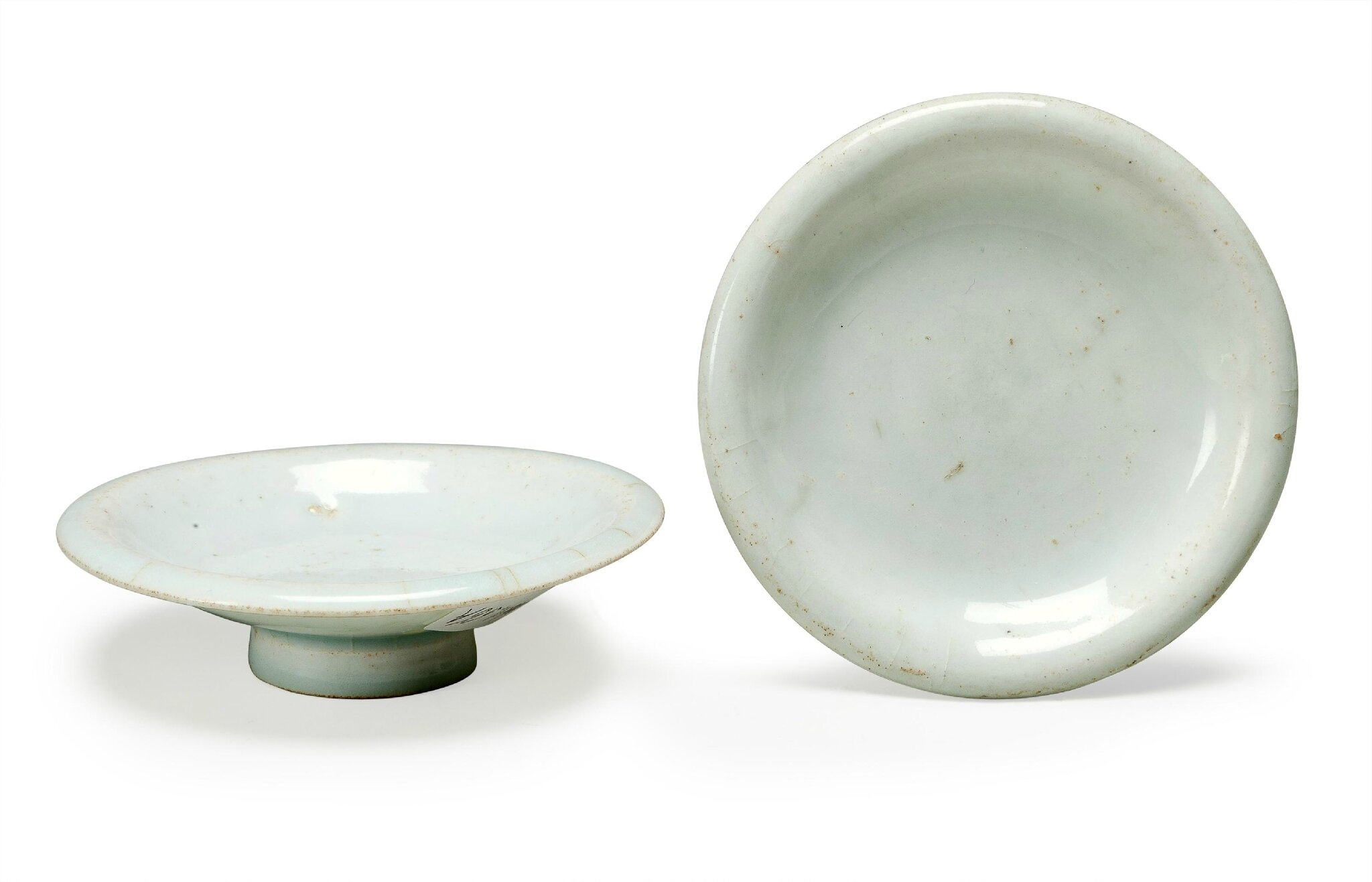 A pair of small Qingbai stem dishes, Song Dynasty (960-1279)