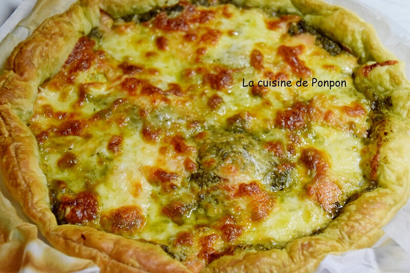 tarte pesto saumon et mozza (6)