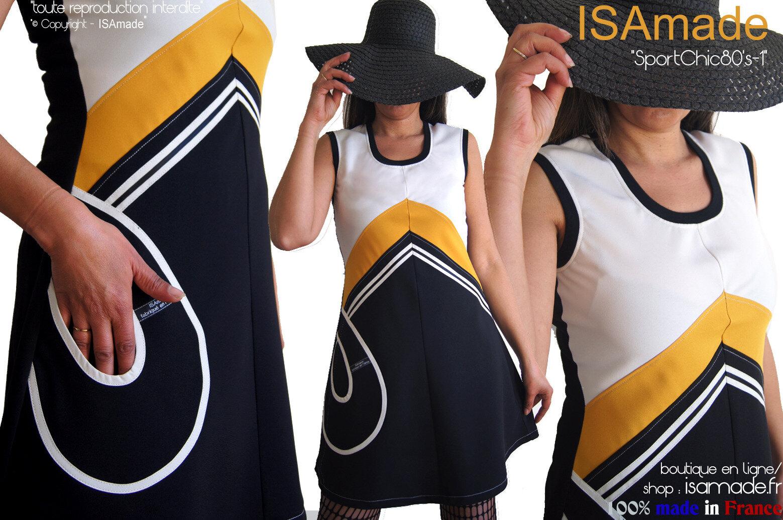 Robe rayure style 80's sport noire jaune moutarde écru créateur chic