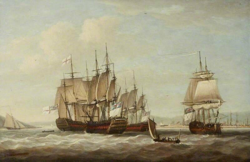 Plusieurs vaisseaux français capturés lors de la bataille et mis sous pavillon anglais 12_April_1782