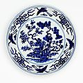 Dish with design of the three friends, china, ming dynasty (1368- 1644), jiajing mark and period (1522 - 1566)