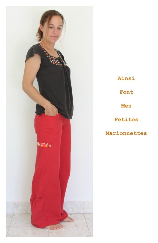 pantalon toile rouge 5