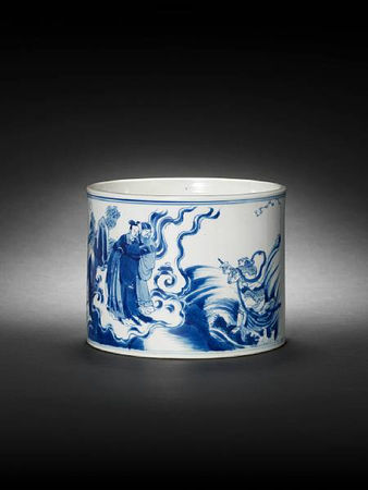 A_blue_and_white_brushpot__bitong