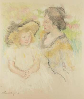 Simone assise sur l'herbe près de sa mère 1902-1904