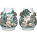 A pair of large famille rose 'hundred deer' hu-form vases, guangxu period (1875-1908)