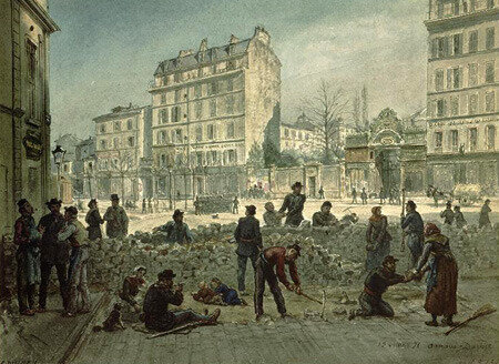 Arnaud-Durbec, construction d'une barricade, place Blanche, 19 mars 1871 (aquarelle)