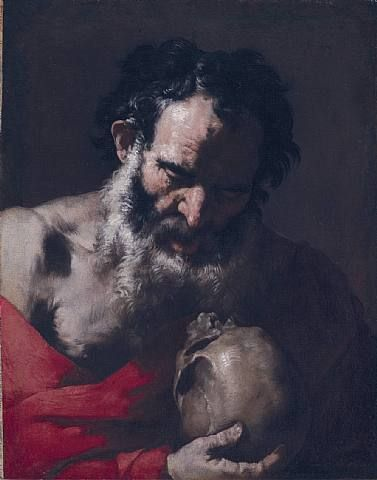 Master of the Annunciation to the Shepherds, A Philosopher meditating on a Skull. Oil on canvas, h: 65 x w: 50 cm / h: 25.6 x w: 19.7 in.