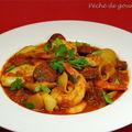 Soupe de chorizo, crevettes et calamars
