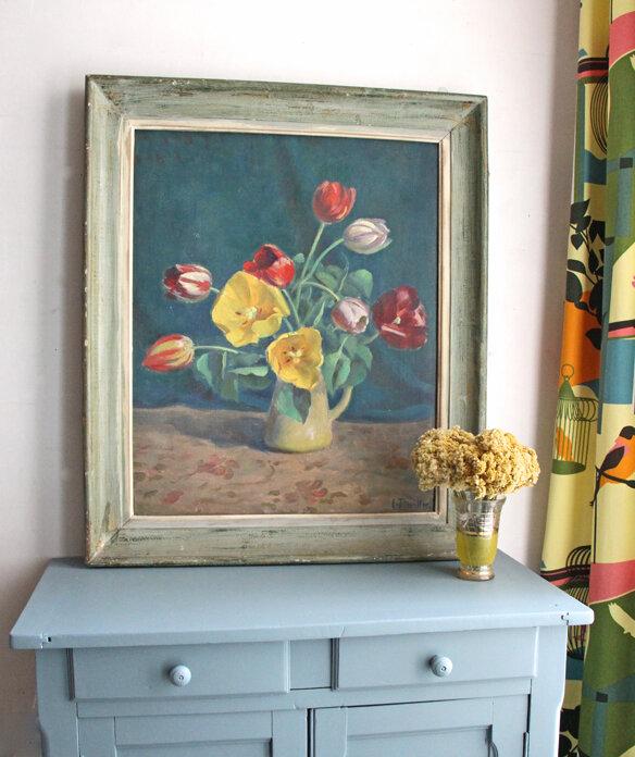 tableau-ancien-bouquet-face
