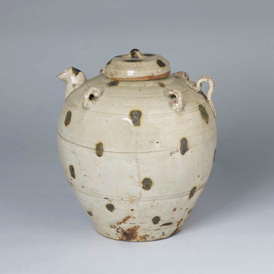 Lidded Ewer with Iron Oxide Spots, Lý–Trần Dynasty, 12th–13th c