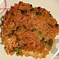 Gratin de riz à la tomate et petits pois