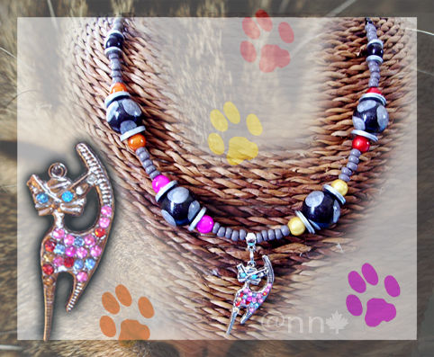 Collier Fimo pois et chat multicolore (N)