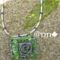 Collier FIMO rose grise et carré vert gris (N)