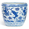 A blue and white 'fish' jar, ming dynasty (1368-1644)