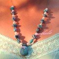 collier turquoise et rose