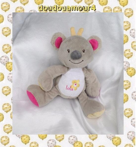Doudou Peluche Koala Gris Et Blanc Fleur Jaune Arthur et Lola Bébisol