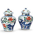 A pair of wucai jars and covers, qing dynasty, 19th century