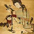 Painting of lady and children, qing dynasty, first half of 18th century