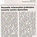 Information judiciaire ouverte contre aprochim