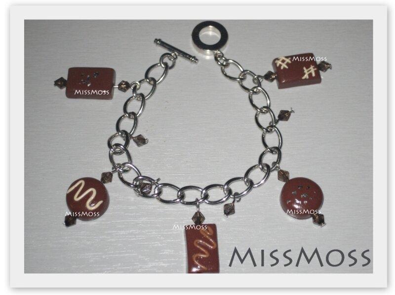 Bracelet breloque chocolat feuille d'argent