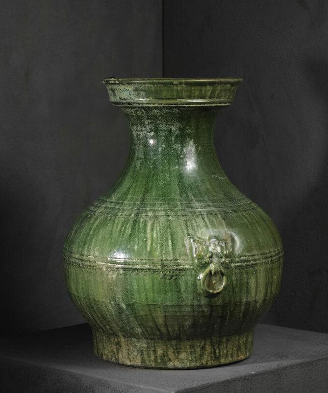 Vase Hu, Terre cuite vernissée, Chine, Dynastie des Han Orientaux (25-220 CE)