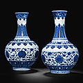 Two blue and white bottle vases, guangxu six-character marks in underglaze blue and of the period (1875-1908)