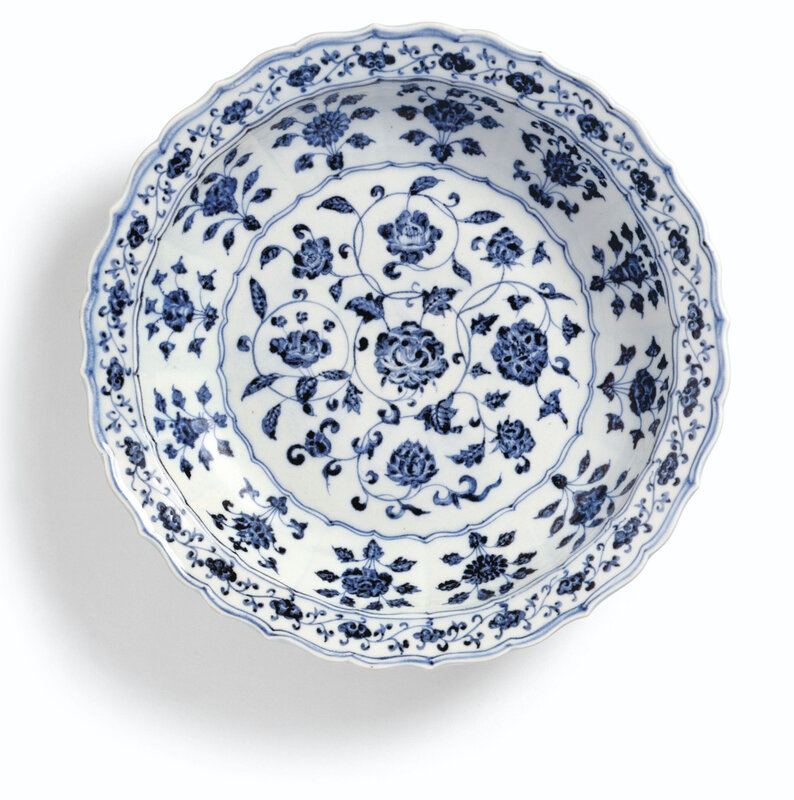 A fine blue and white barbed dish, Ming dynasty, Yongle period (1403-1424)