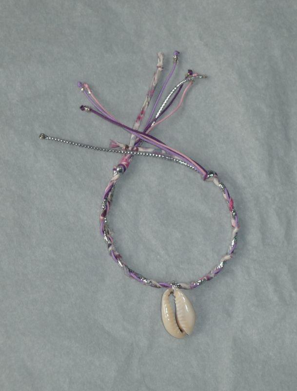 Bracelet 'Coquillage et Liberty tressé'