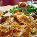 Huîtres au gratin et salade de pomme de terre tiède à la moutarde