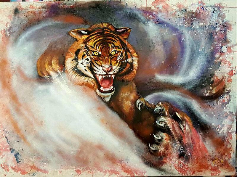 65) La révolte du tigre huile sur toile 130x110 janvier 2016