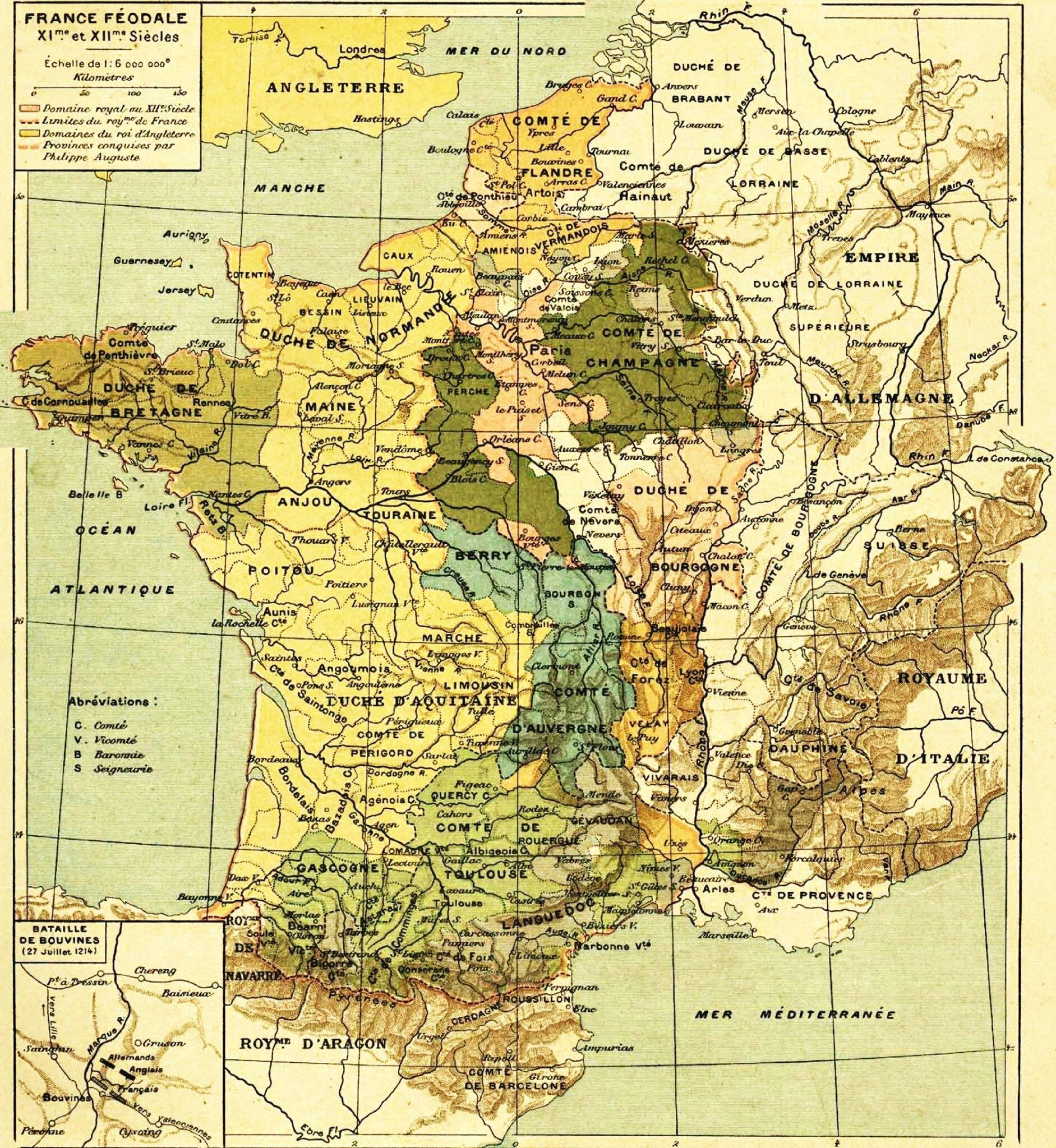 Carte France Féodale - PHystorique- Les Portes du Temps