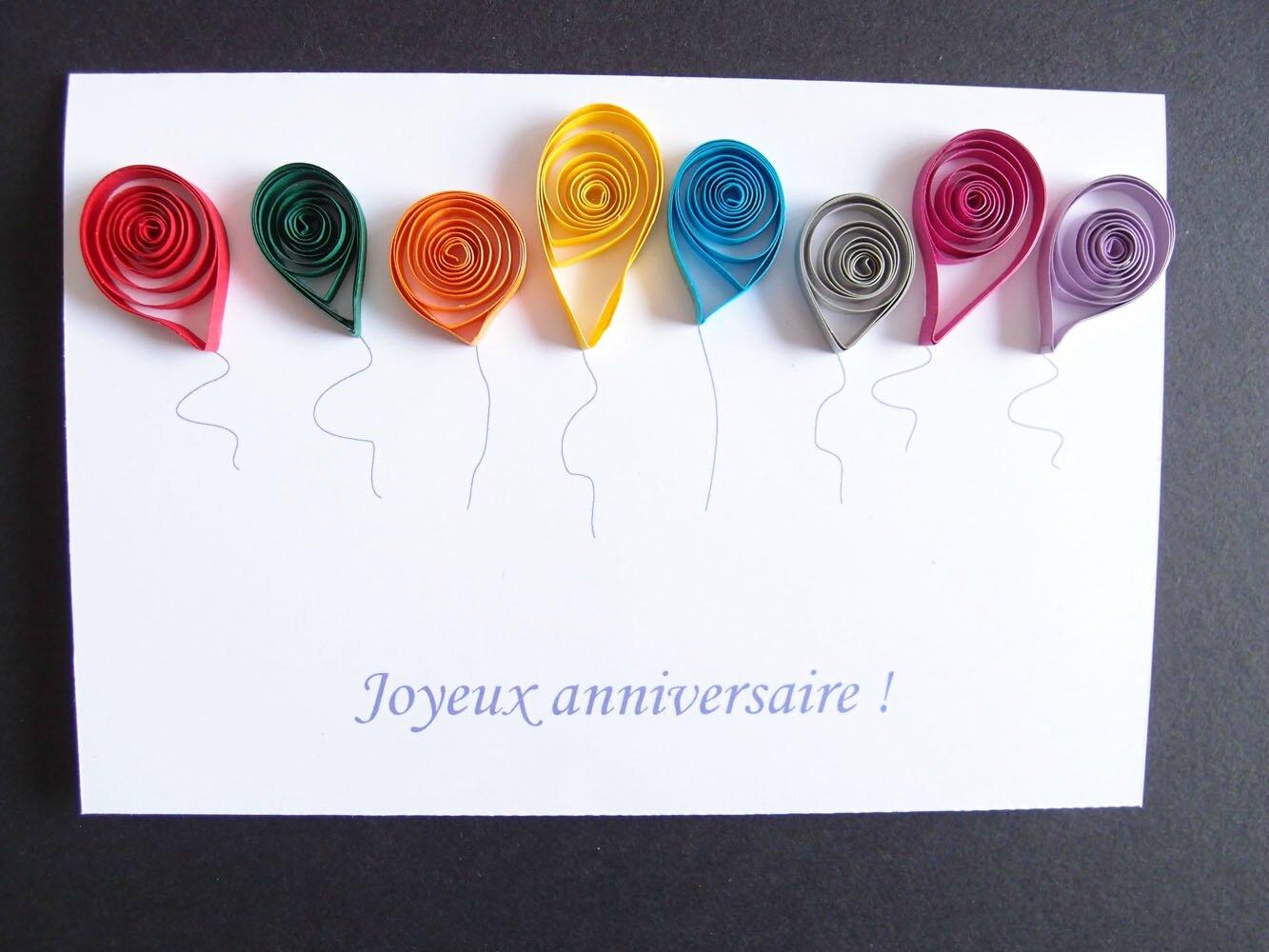 Carte Danniversaire Ballons En Quilling Le Blog De Lamélo