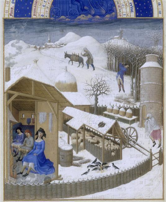 Très riches heures du duc de Berry - Calendrier - Mois de février par les frères de Limbourg