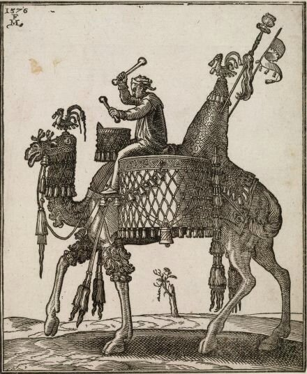 Melchior Lorck A kettledrum player riding a camel In profile to left; the camel with ornate saddle and bridle from which bells are dangling; from a series of 127 woodcuts (ca