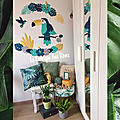 Stickers tropical toucan feuilles monstera colibri pétrole turquoise jaune gris moutarde