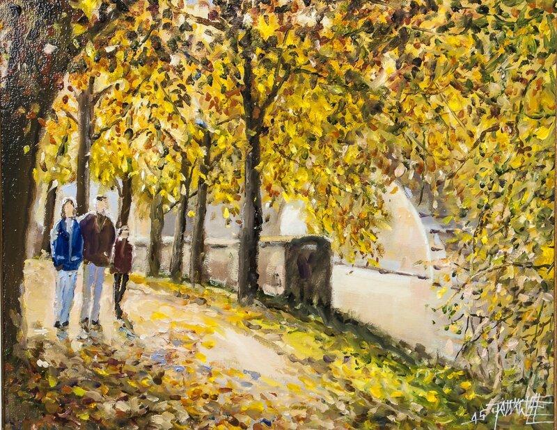 La promenade des Remparts -Metz - Huile - Format 8F (46 x 38) Disponible