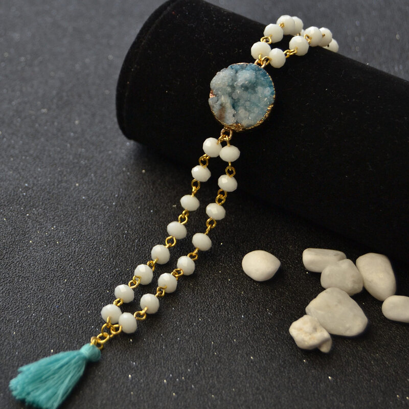 PandaHall-Easy-Tutorial-on-White-Glass-Beads-Bracelet-with-Drusy-Agate-7