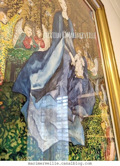 Tableau boheme la Vierge au Buisson de roses - création ©Marimerveille