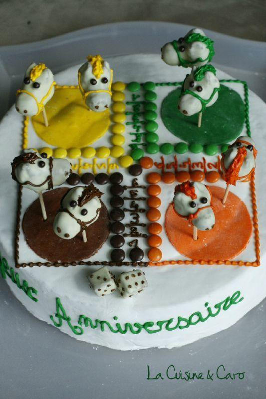 G teau d 39 anniversaire jeu des petits chevaux la cuisine caro - Decoration gateau cheval ...