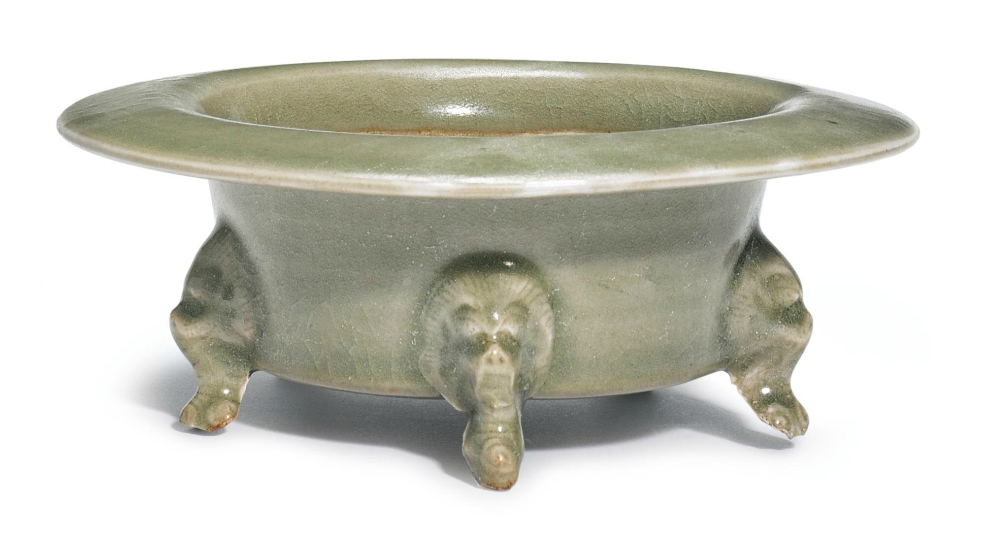 A 'Yaozhou'  five-legged censer, Five Dynasties-Northern Song Dynasty