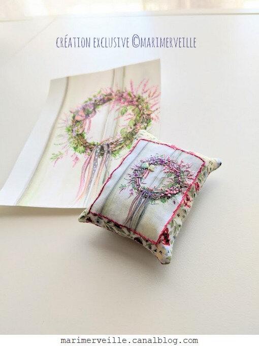 Pique épingle couronne de fleurs miniature - création ©marimerveille