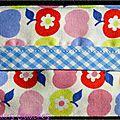 Des pommes colorées ... du vichy bleu ciel ... une idée de cadeau pratique et hygiénique ?? ... un étui à mouchoirs !