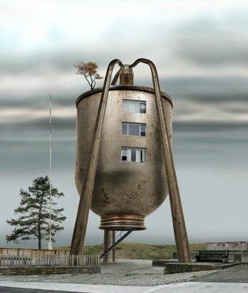 résidence en bidon d'huile