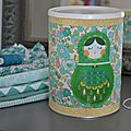 Boîte customisée en liberty betsy turquoise