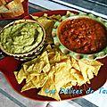 Guacamole et sauce salsa